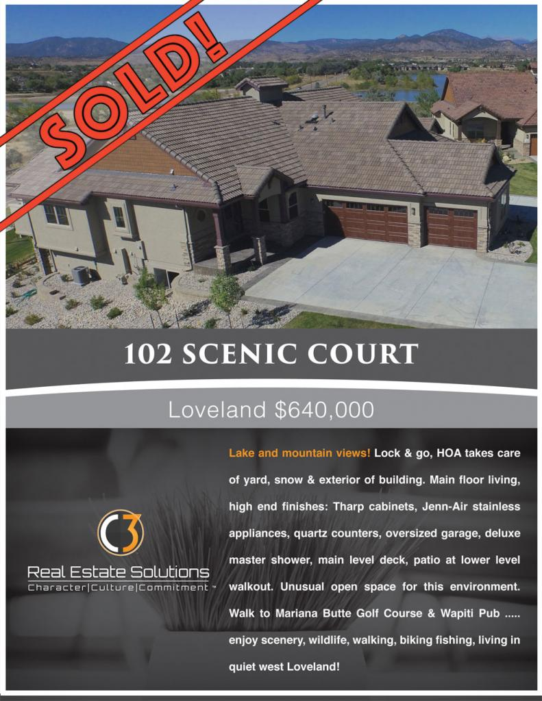 SOLD - 102 Scenic Court, Loveland Colorado - listed by Nancy Baxter C3 Real Estate Solutions, Loveland Colorado